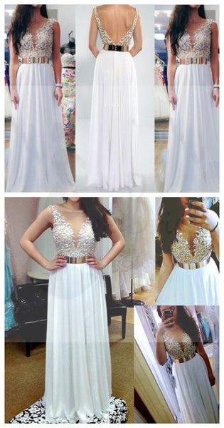 Sexy V- Back White Lace, Long A-Line Charming Prom Dresses, Graduation Dresses
