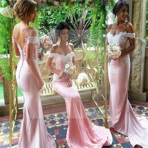 Popular Off Shoulder Mermaid Lace Bridesmaid Dress, Sexy Wedding Party Dress