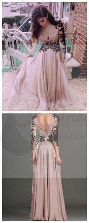 Dusty Pink Prom Dresses, Long Prom Dresses, V-neck Prom Dresses, Long Sleeve Prom Dresses, Chiffon Prom Dresses, Popular Prom Dresses, Custom Prom Dresses ,Prom Dresses Online,PD0112