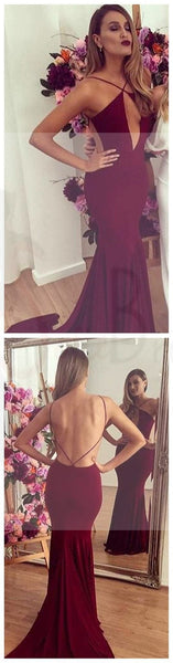 Sexy Backless Mermaid Red Jersey Prom Dresses, Popular Cheap Prom Dresses