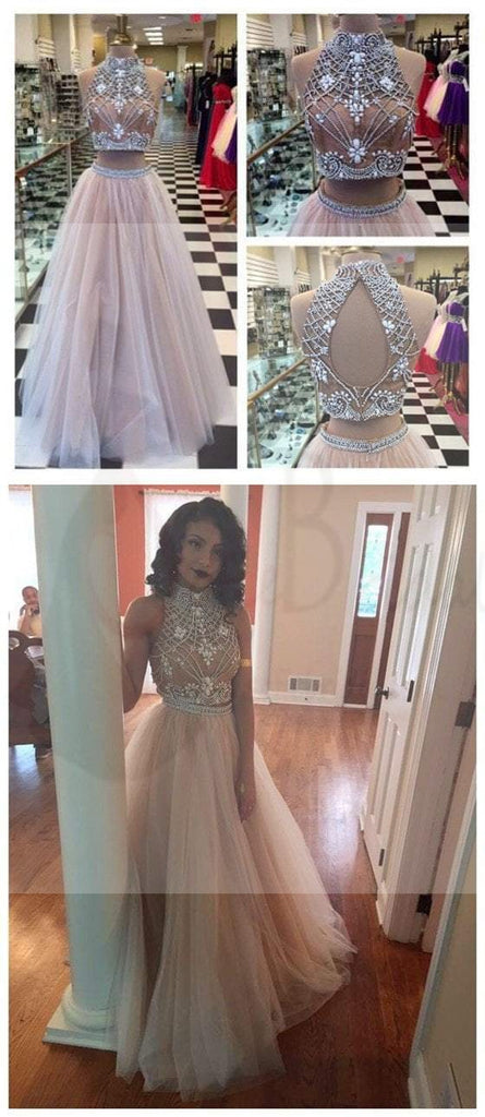 Two Pieces High Neck Rhinestone Open Back Prom Dresses, Popular Tulle Prom Dresses