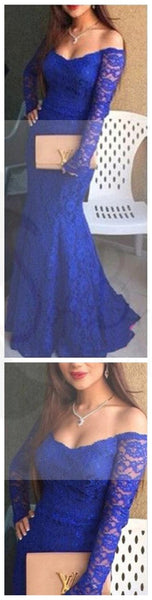 Off Shoulder Sexy Royal Blue Lace Mermaid Prom Dresses, Cheap Prom Dress