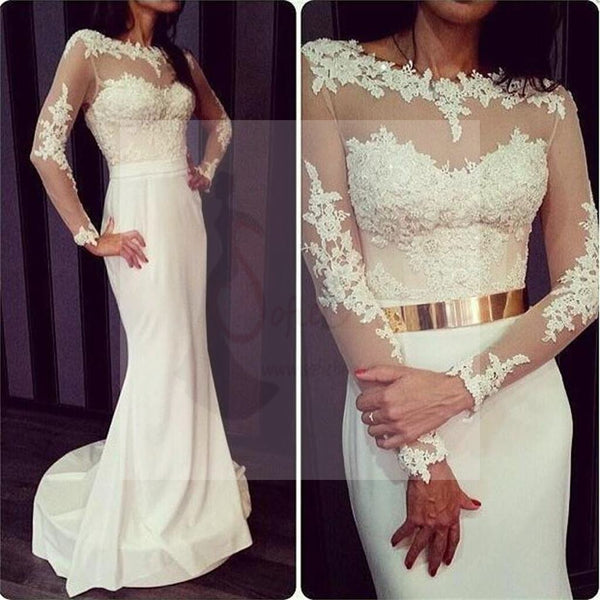 Newest White Prom Dresses, Long Sleeves Prom Dresses, Formal Prom Dresses, Sexy Prom Dresses, Charming Prom Dresses, Open Back Prom Dresses, Prom Dresses Online, PD0118