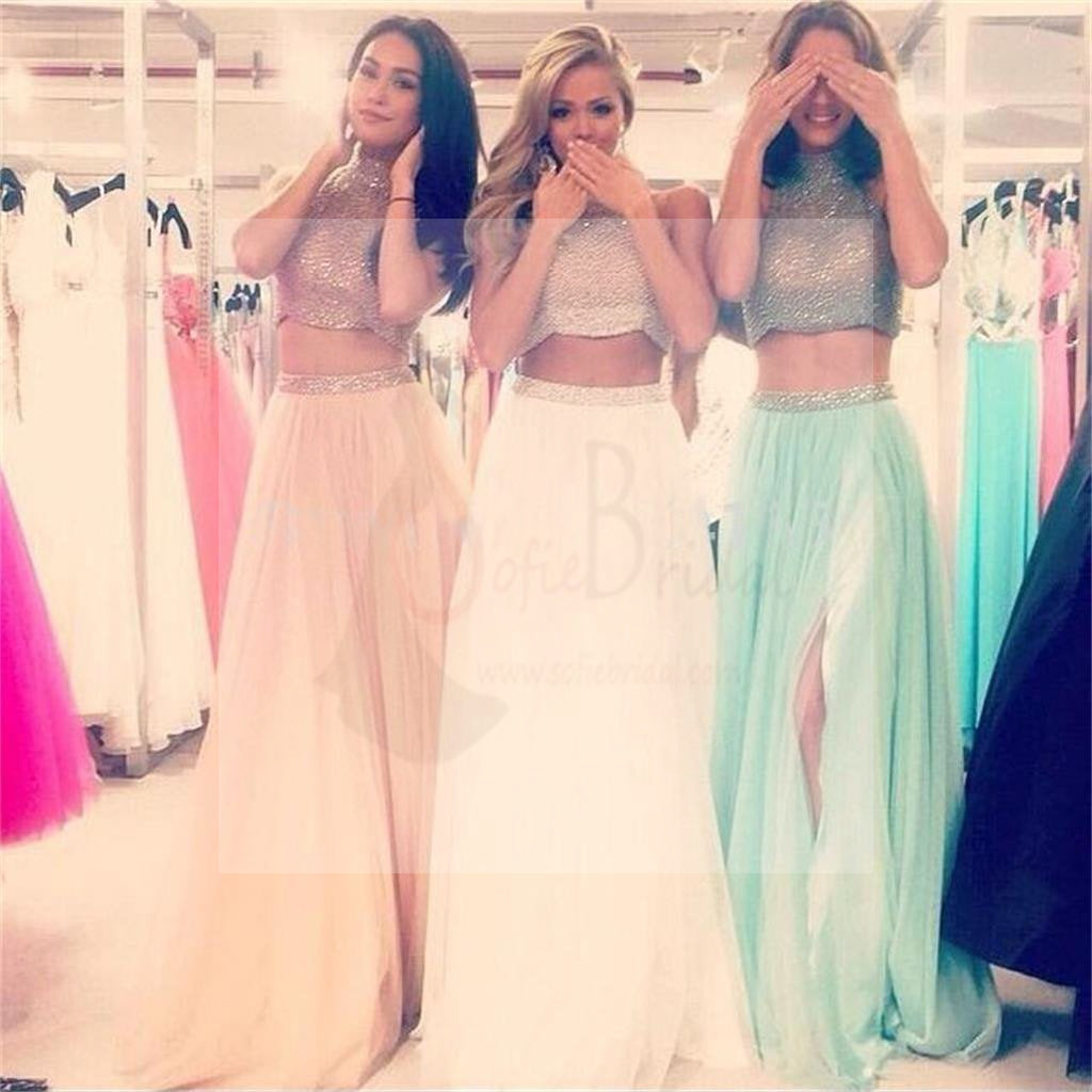 High Neck Prom Dress, Side Slit Prom Dress, Two Pieces Dress, A-Line Prom Dress, Party Prom Dresses, Evening Dresses, Long Prom Dress, Prom Dresses Online,PD0124