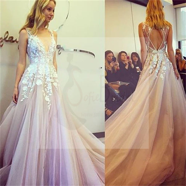 Sexy V-Neck Off Shoulder Prom Dress, Charming Prom Dress,Party Prom Dresses, Pink Bridal Gown