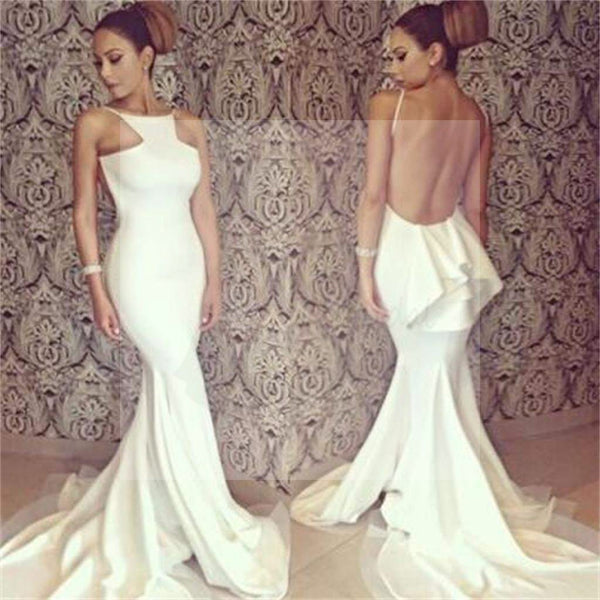 White Jersey Sexy Backless Mermaid Prom Dress, Formal Evening Prom Dress
