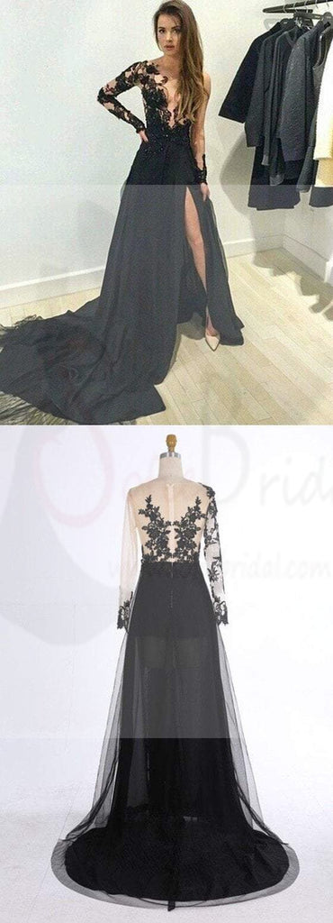 Long Prom Dresses, Lace Prom Dresses, Black Prom Dresses, Long Sleeves Prom Dresses, Evening Prom Dresses, Popular Prom Dresses, PD0013