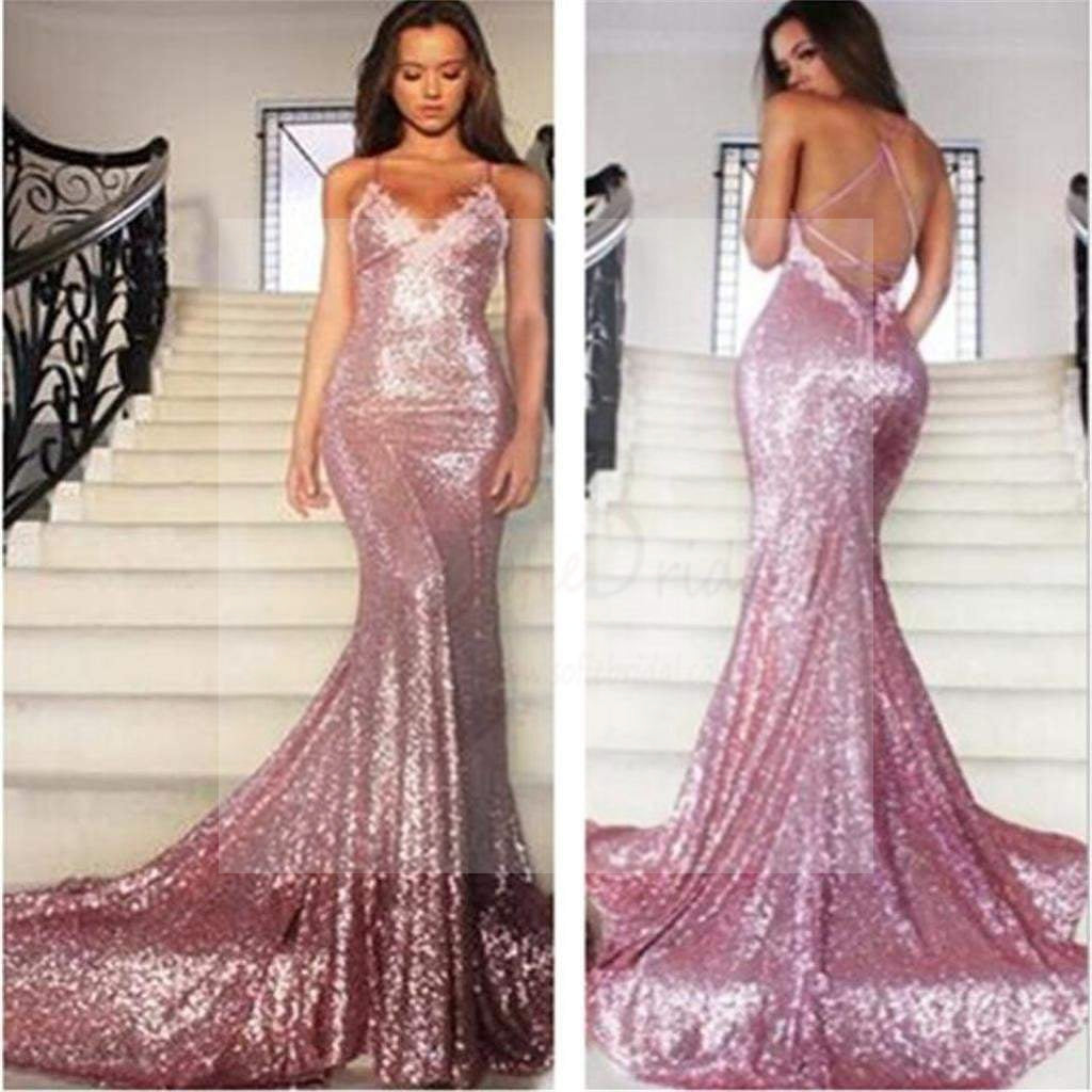 Sexy Pink Sequin Mermaid Prom Dresses, Spaghetti Backless Prom Dresses