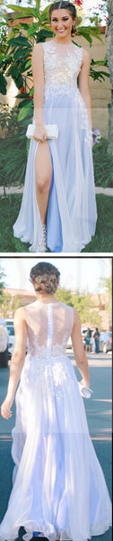 See Through Side Slit Pale Blue Lace Scoop Prom Dress,Custom A-line Prom Dresses