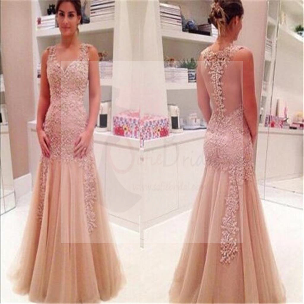 Dusty Pink Lace Mermaid Prom Dresses, Cheap Popular Long Tulle Prom Dresses