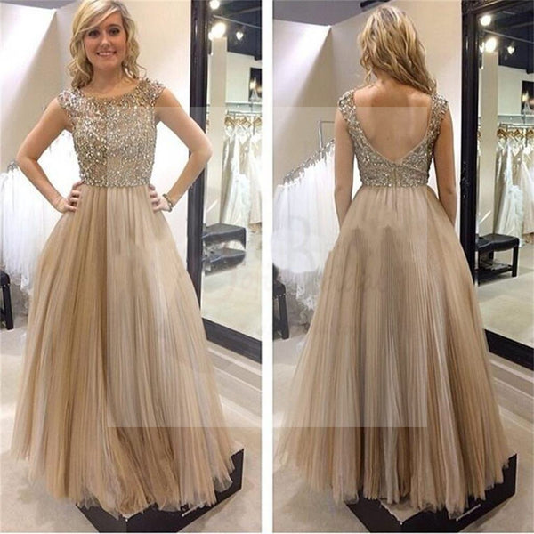 Charming Round Neck Rhinestone V-Back Prom Dresses, PD0307
