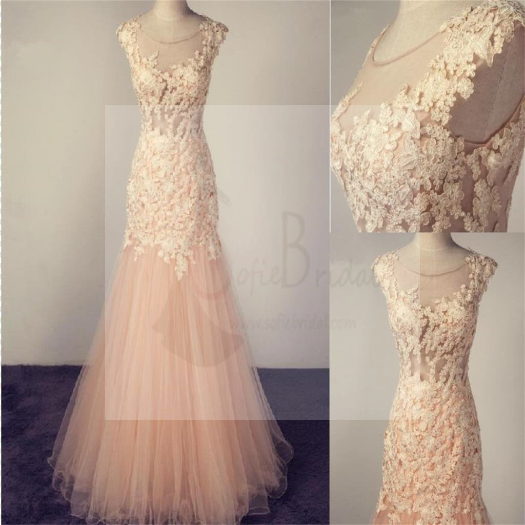 Pale Pink Scoop Tulle Prom Dress With Lace Appliques,Charming Bridesmaid Dresses