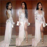 Sexy White Beaded Open Back Side Slit Prom Dresses, Long Sleeve Formal Evening Dress