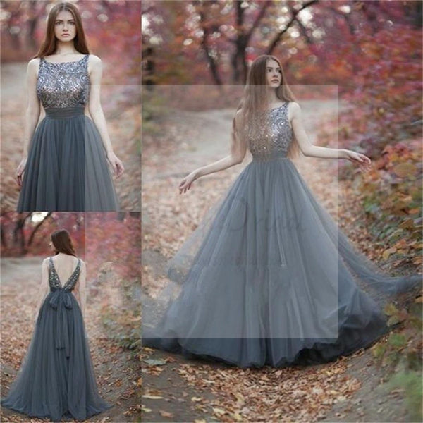 Charming V-Back Tulle Rhinestone Beaded Long Prom Dresses, PD0140