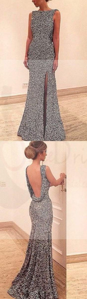 Scoop Neckline Sexy Backless Side Slit Sequin Prom Dresses, PD0142