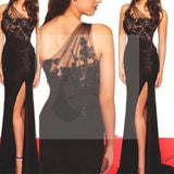 Sexy Black lace Side Slit Mermaid Prom Dresses, Long One Shoulder Prom Dress