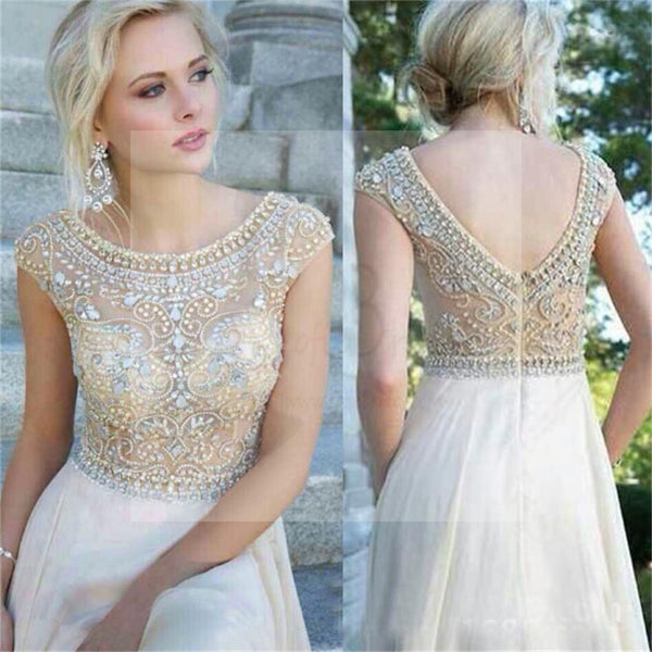 Cap Sleeves Prom Dresses Long A-line Prom Dresses, Gorgeous Round Neck Rhinestone Bridal Gown, WD0122
