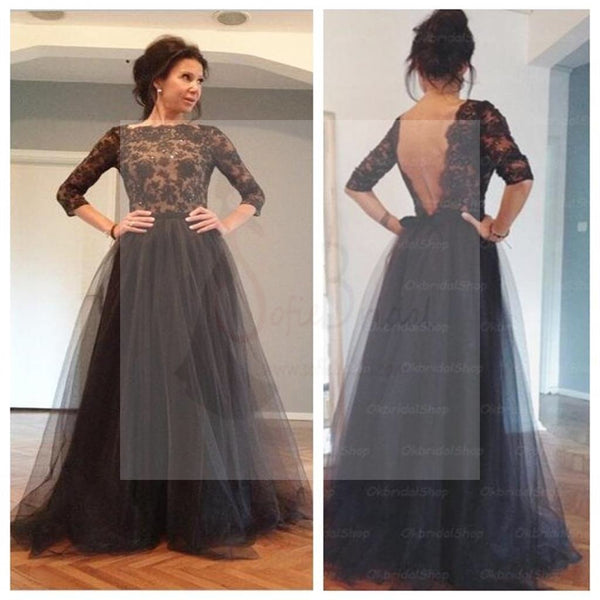 1340f1c2292 Black Lace Half Sleeve Sexy V-back Long A-line Tulle Prom Dresses ...