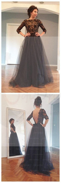 Black Lace Half Sleeve Sexy V-back Long A-line Tulle Prom Dresses, PD0305