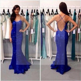 Royal Blue Lace Mermaid Prom Dresses, Sexy Backless Spaghetti Prom Dresses
