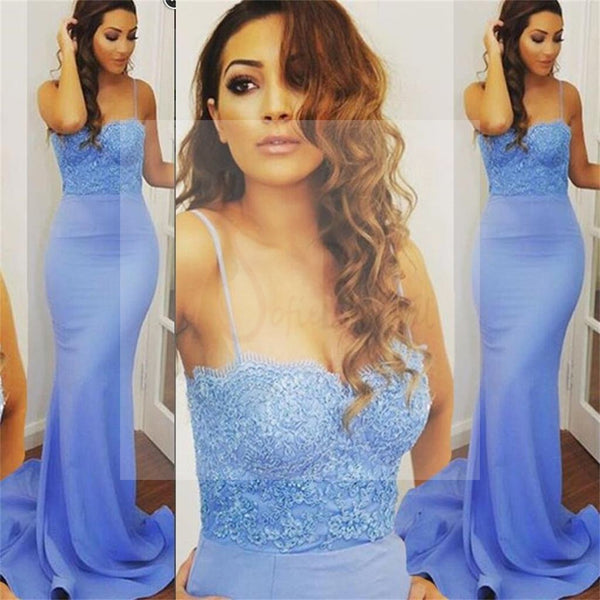 Spaghetti Straps Mermaid Prom Dresses, Sexy Blue Lace Prom Dresses