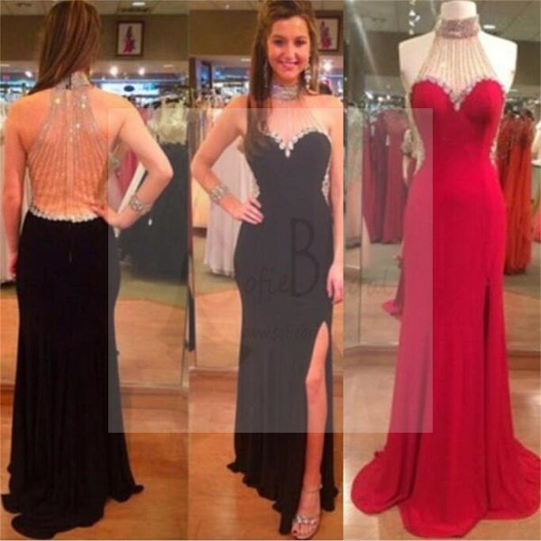 Unique Side Slit Formal Prom Dresses, Custom Sexy Jersey Beaded Prom Dresses