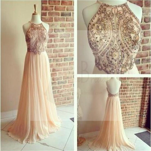 Gorgeous Backless Rhinestone Beaded Long A-line Chiffon Prom Dresses, PD0159