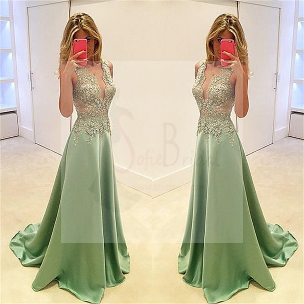 Deep V-Neck Prom Dresses, Stunning Prom Dresses, A-line Prom Dresses, Sexy Prom Dresses, Fashion Prom Dresses, Cocktail Prom Dresses, Evening Dresses, Long Prom Dress, Prom Dresses Online