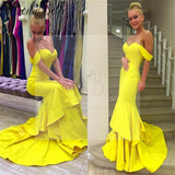 Sexy Off Shoulder Mermaid Yellow Jersey Prom Dresses, Popular Sweetheart Prom Dresses