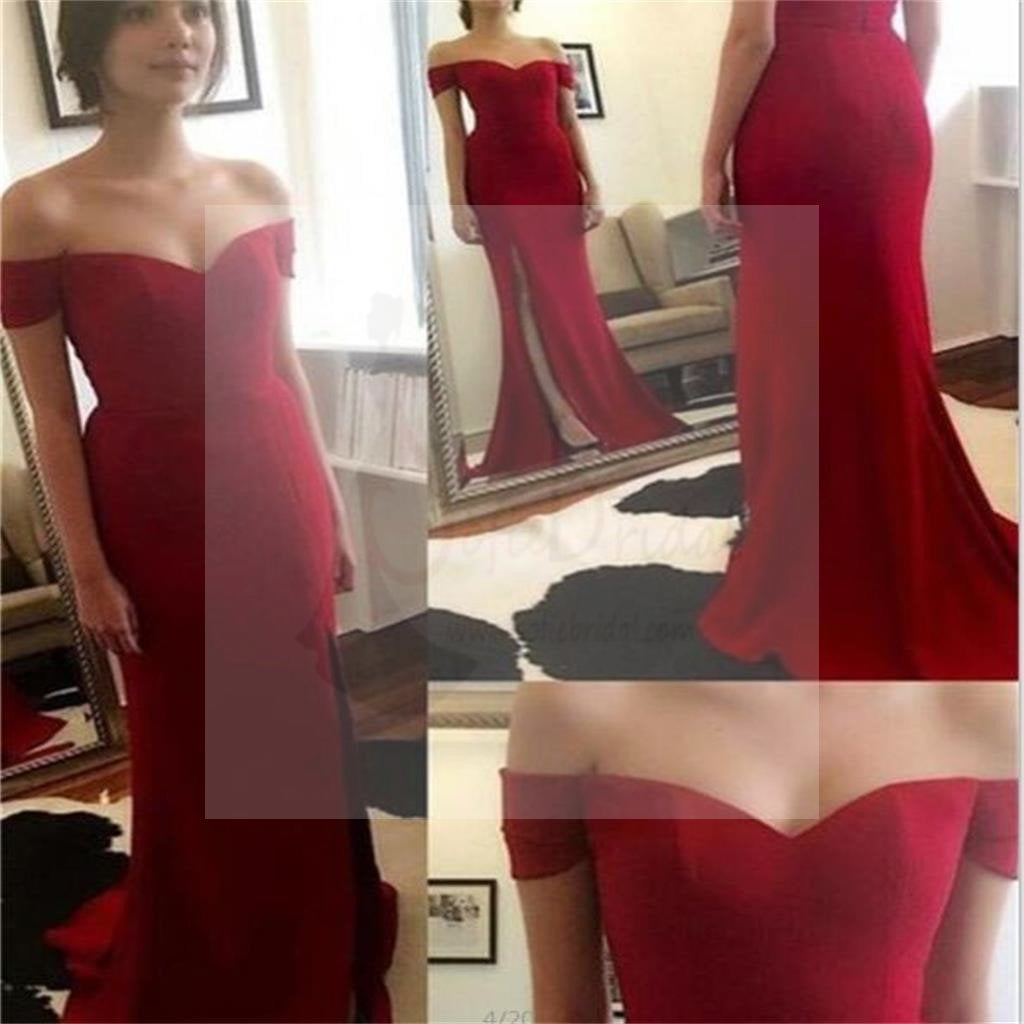 Sexy Off Shoulder Side Slit Red Jersey Prom Dresses, Party Dresses, Long Prom Dress