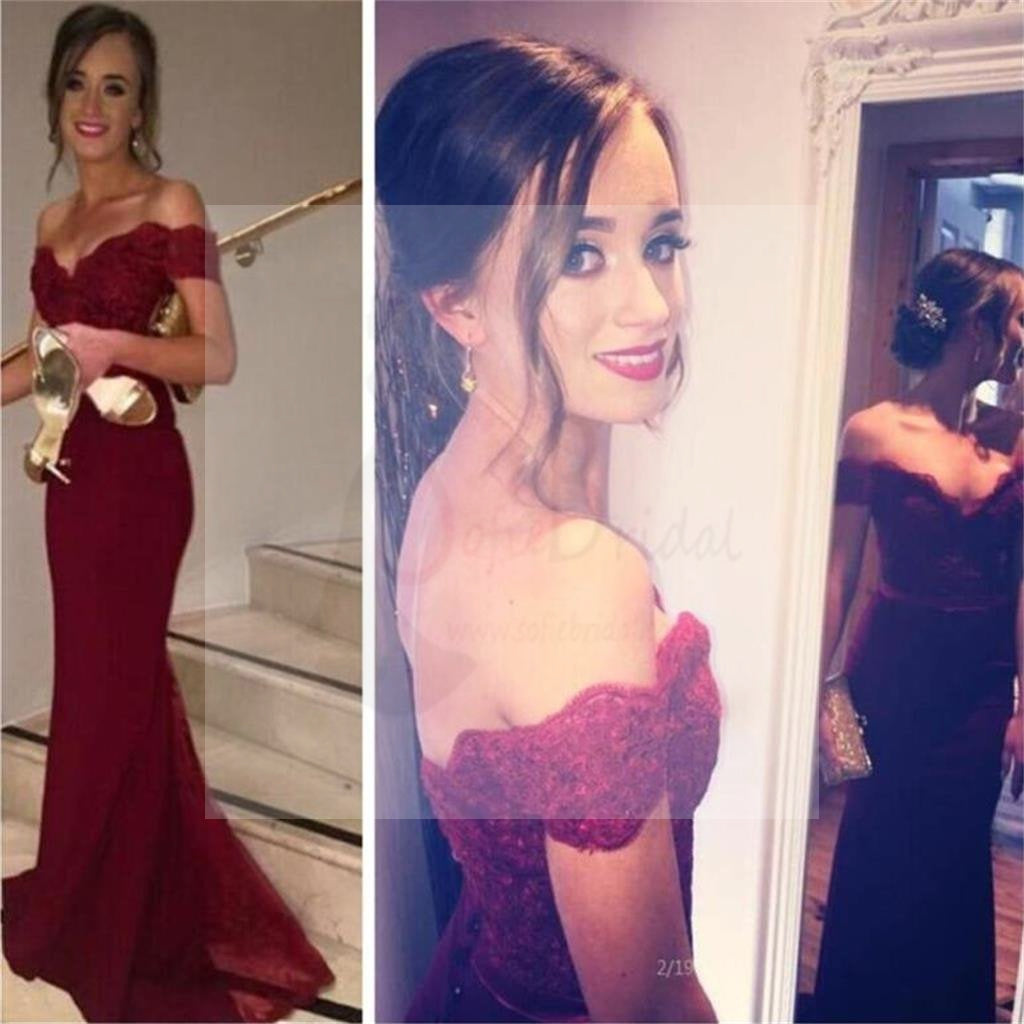 Maroon Off Shoulder Inexpensive Party Dresses Prom Dress, PD0165