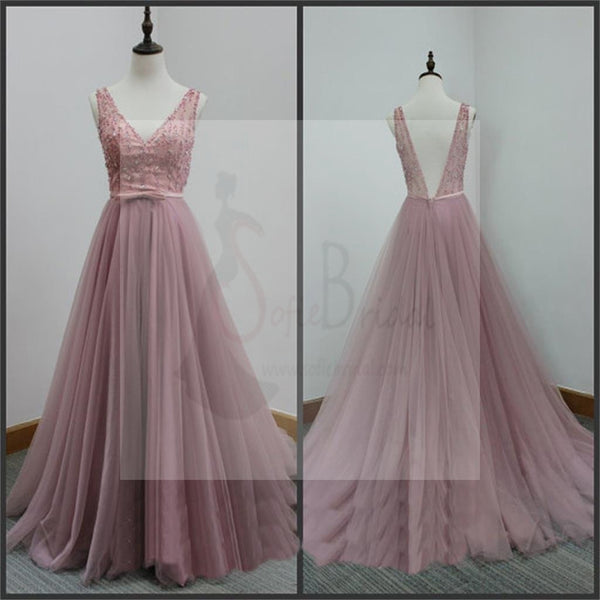 V-Back Tulle Prom Dresses,A-line Party Dresses, Evening Dresses,Long Prom Dress