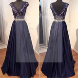 Navy Blue Long A-line Satin Lace Beaded Prom Dresses, PD0176