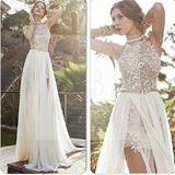 Sexy High Neck Lace Backless Side Slit Prom Dress, Wedding Party Dresses