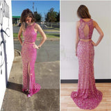 Two Pieces Hot Pink Sequin Prom Dresses, Sexy Side Slit Open Back Prom Dresses