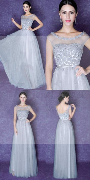 Gray Scoop Tulle Prom Dresses, V-Back Lace Prom Dresses, Bridesmaid Dress
