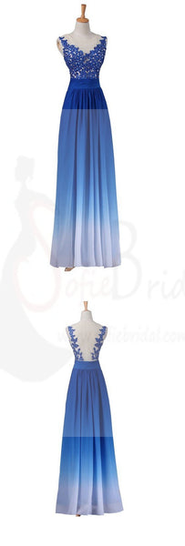 Chiffon Prom Dresses, Gradient Dresses, Blue Prom Dresses, Lace Appliques Prom Dresses, Party Dresses, Evening Dresses, Long Prom Dress