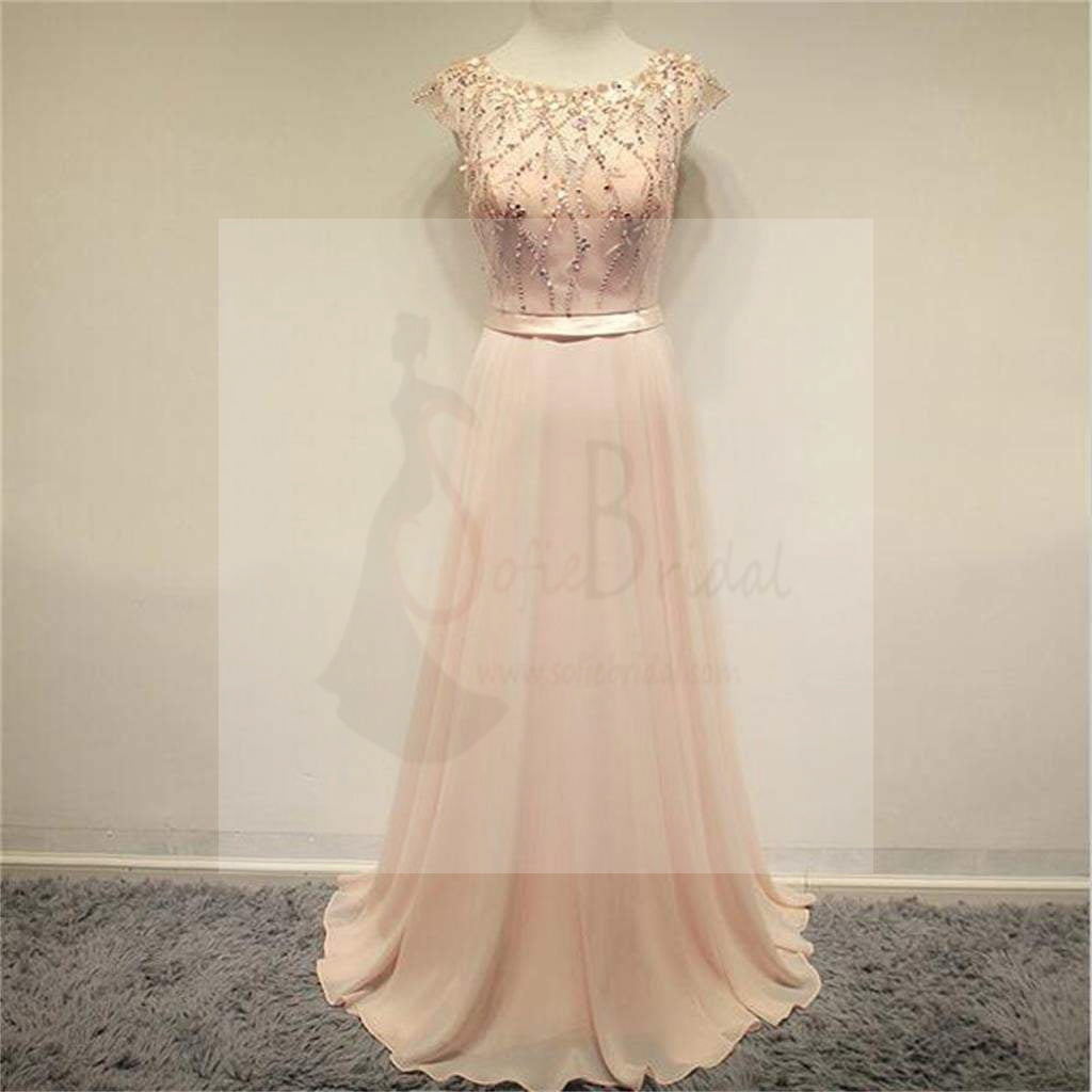 Chiffon Prom Dresses, Cap Sleeves Prom Dresses, Cheap Prom Dresses, Evening Dresses, Long Prom Dress