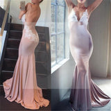 Sexy V-Neck Backless Mermaid Prom Dresses, Spaghetti Lace Prom Dresses