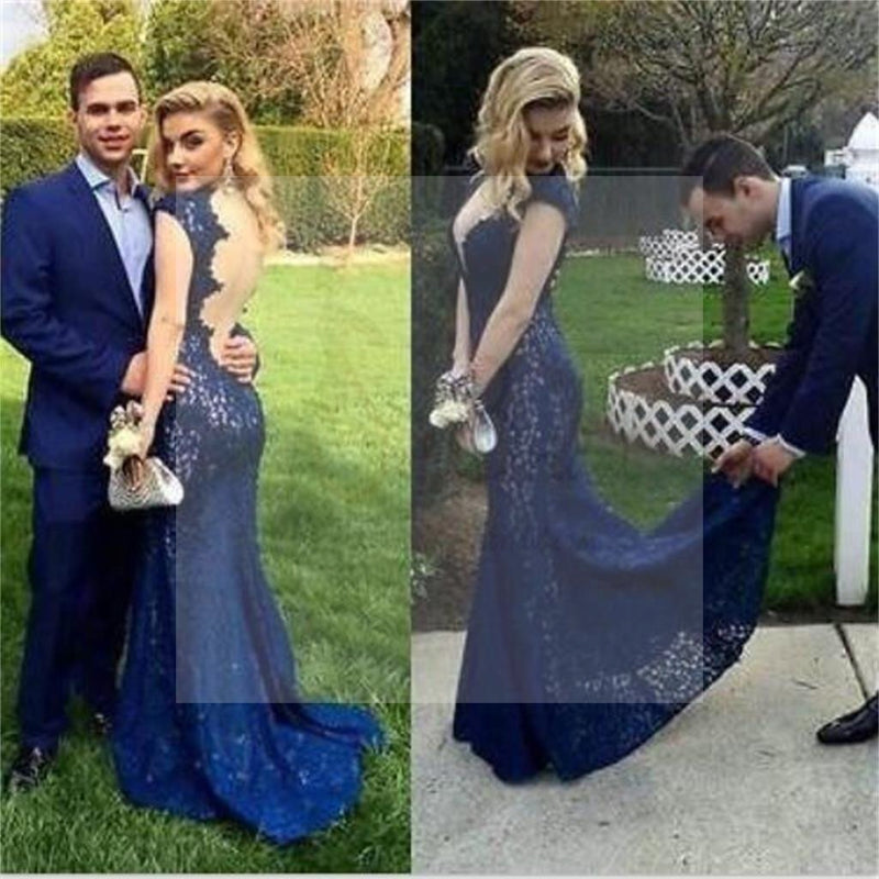 Sexy Backless Mermaid Royal Blue Lace Formal Prom Dresses, Popular Formal Prom Dress