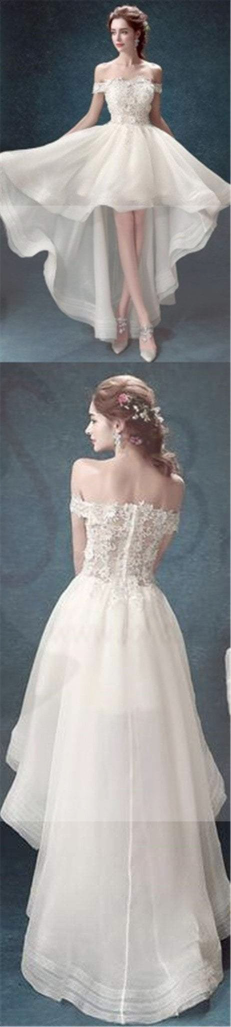 High Low Prom Dresses,Off Shoulder Prom Dresses, White Organza Prom ...