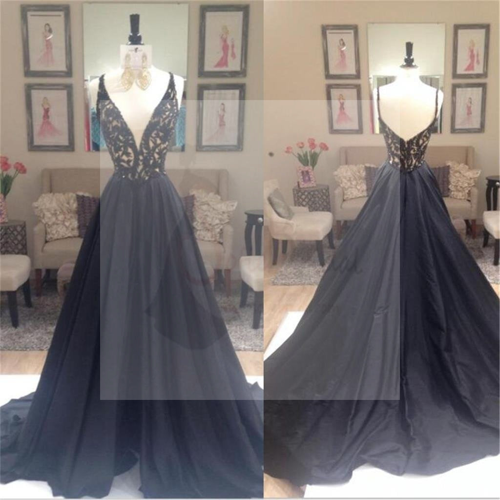 Deep V-Neck Prom Dresses, A-line Prom Dresses, Elegant Prom Dresses, Custom Prom Dresses, Party Dresses, Cocktail Prom Dresses, Evening Dresses, Long Prom Dress, Prom Dresses Online