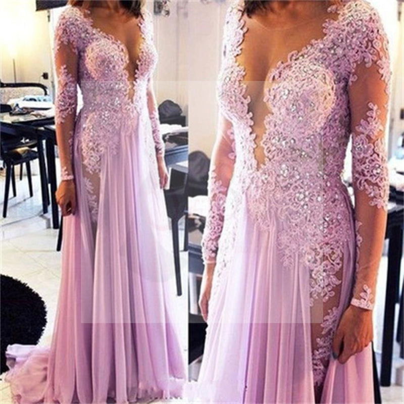 Long Sleeves Prom Dresses, Lace Prom Dresses, Sexy Prom Dresses ...