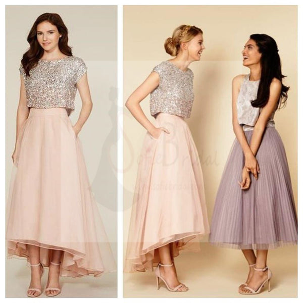 Two Pieces Sequin Top Mismatched Bridesmaid Dresses, WD0259