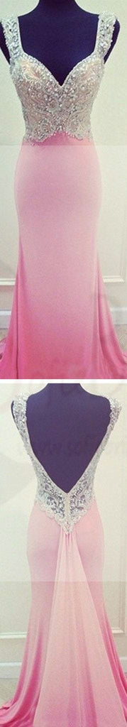 Pink Mermaid Open Back Prom Dresses,Evening Prom Dresses,Custom Prom Dresses