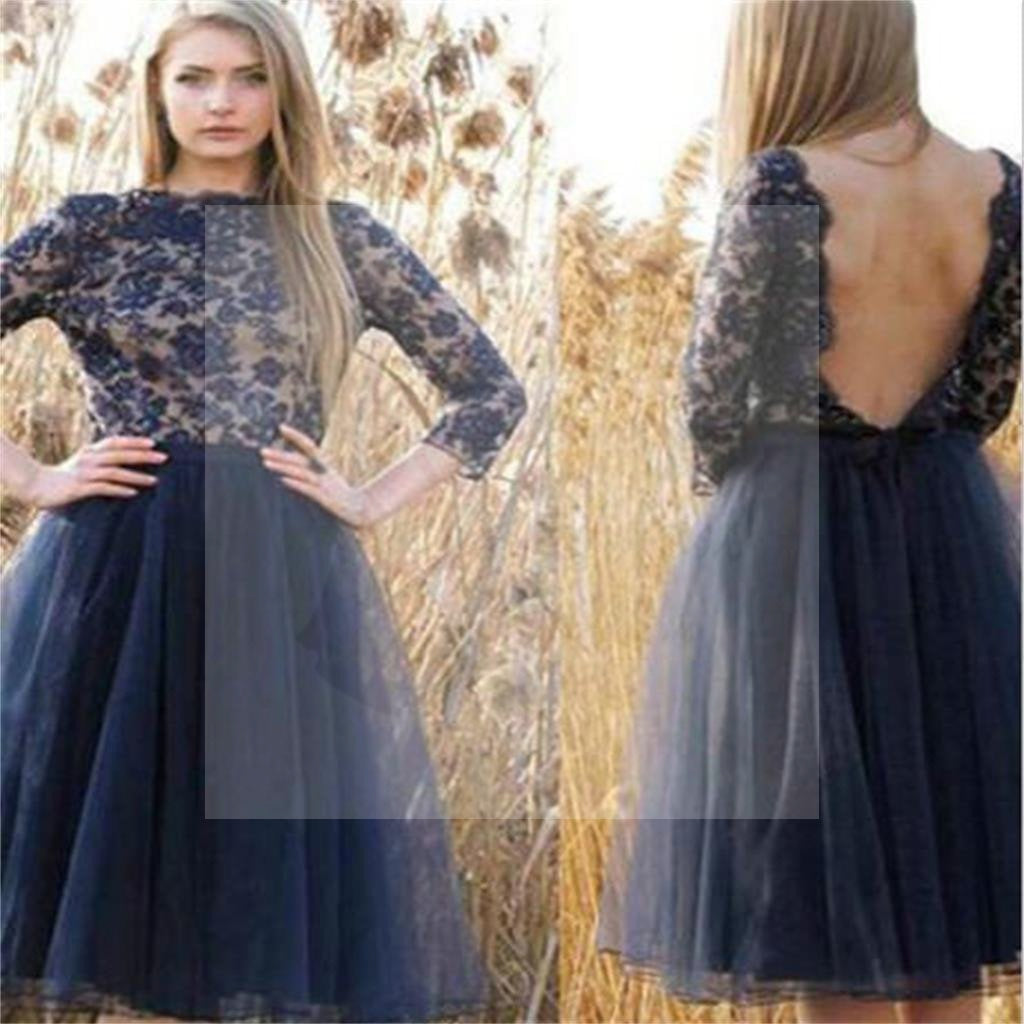 Navy Blue Lace Homecoming Dress, Sexy Backless Long Sleeve Tulle Homecoming Dresses