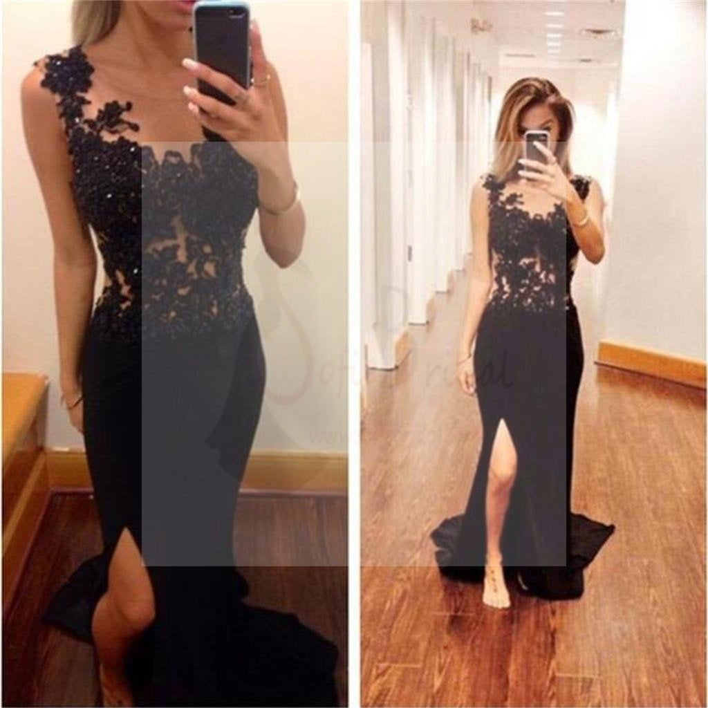 Popular Long Mermaid Sexy Black Lace Beaded Side Slit Jersey Prom Dresses, WD0255