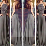 Long Prom Dresses, Gray Prom Dresses, Chiffon Prom Dresses, Popular Prom Dresses, Cheap Prom Dresses, Evening Prom Dresses, PD0032
