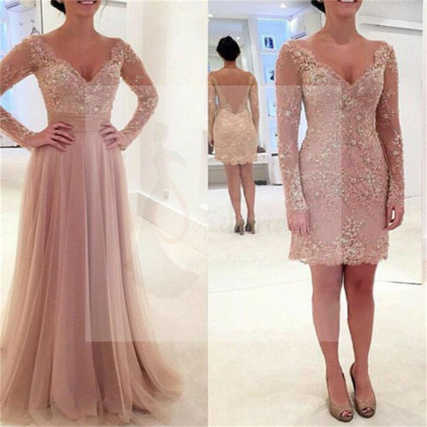 Long Sleeve Prom Dresses, V-Neck Lace Prom Dresses, Tulle Prom Dresses, Pink Prom Dresses, Sexy  Prom Dresses, Two Pieces Prom Dresses, PD0034