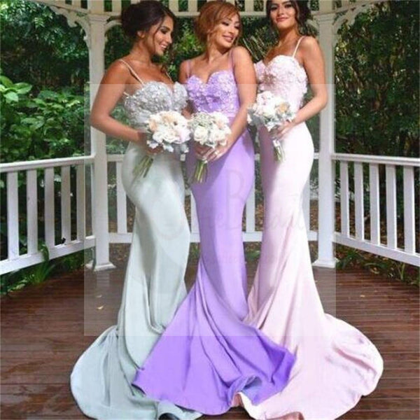 Spaghetti Straps Mermaid Prom Dresses, Popular Sexy Lace Custom Bridesmaid Dresses